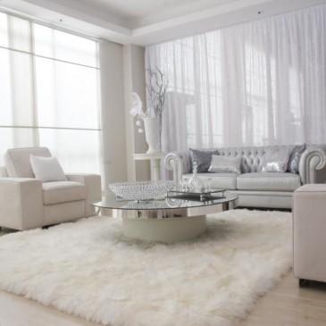 Ideje za dnevne sobe v belih barvah