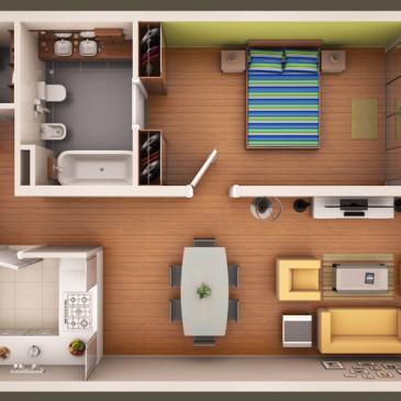 Dva primera notranje razporeditve opreme za blokovski stanovanji