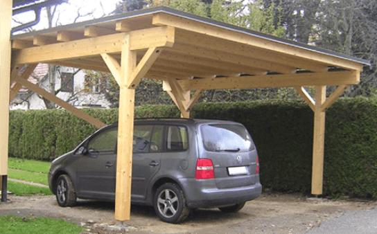 Zelo preprosti leseni nadstreški za terase in avtomobile