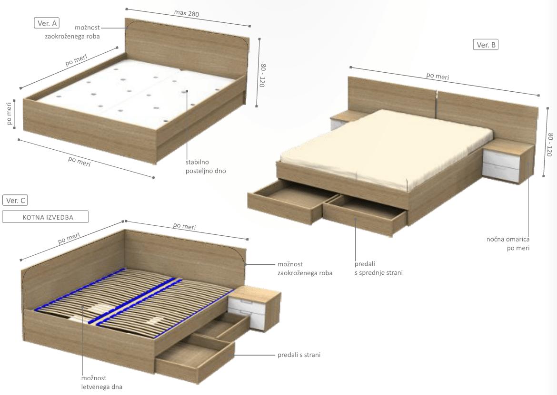 klasična postelja s predali