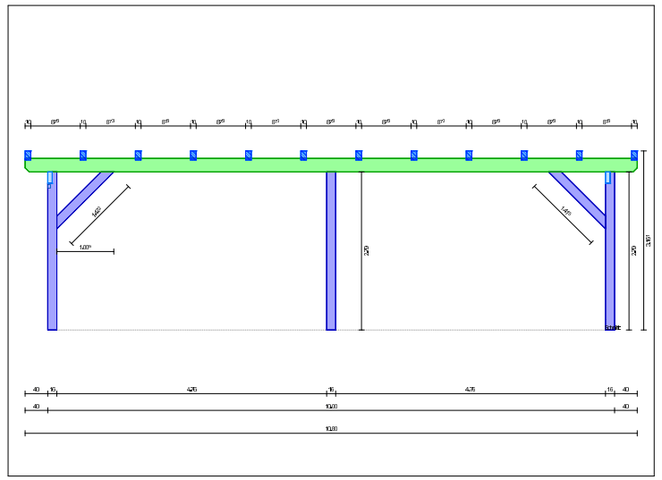 tehnicna skica mere nadstrešek 4 kombiji