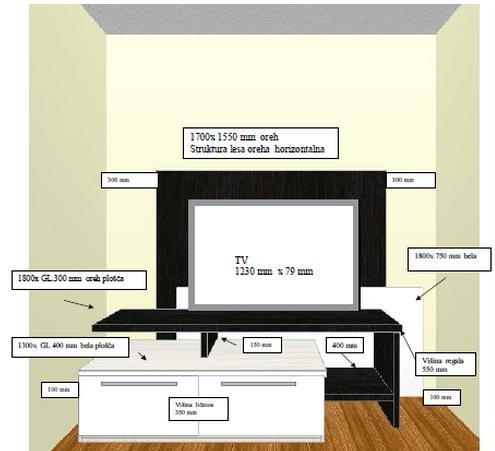 3d vizualizacija sestava za dnevno sobo
