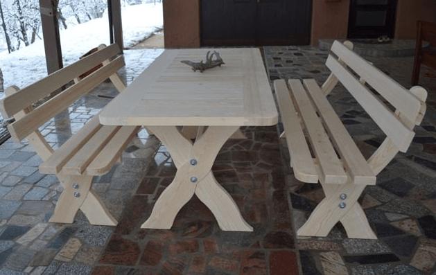 zunanja vrtna miza in klop