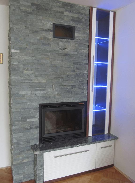 moderne dnevne sobe ob kaminu