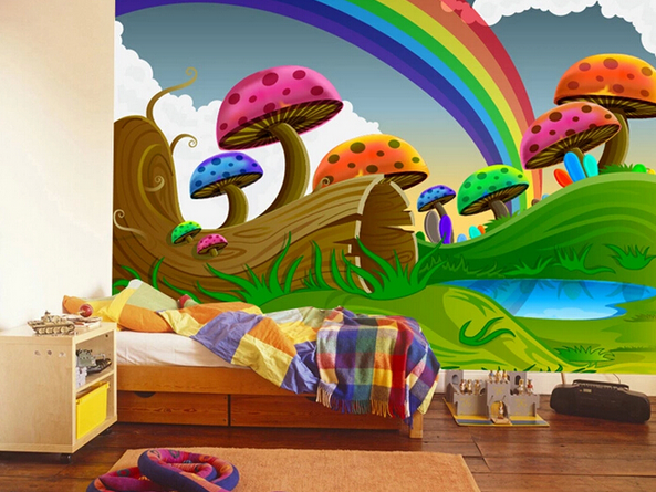 otroška soba mavrica na steni
