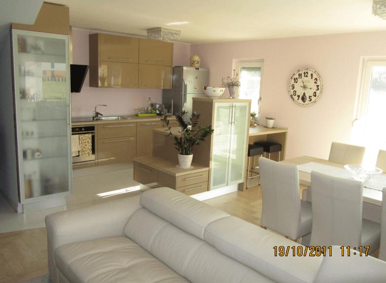 moderna kuhinja jedilinca dnevna soba v enem prostoru