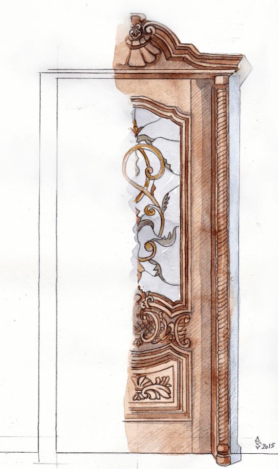 skica vitraža za vrata