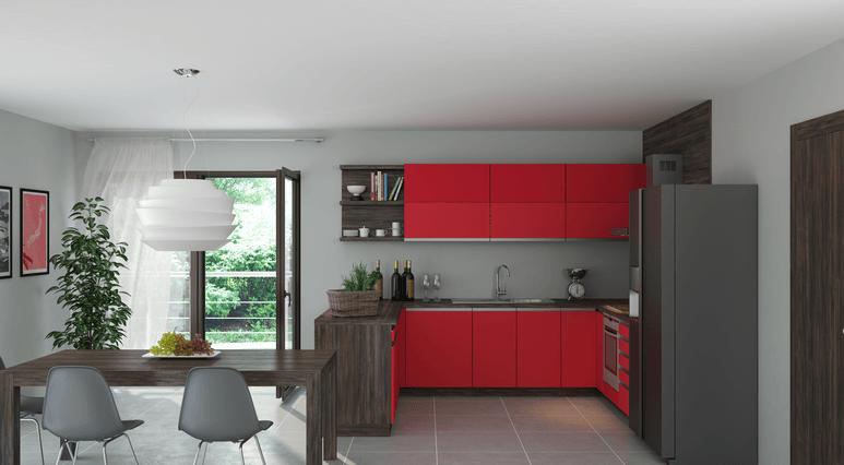 moderna kuhinja po elementih z jedilnico