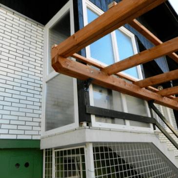 Gradnja lesenega nadstreška na Ptuju