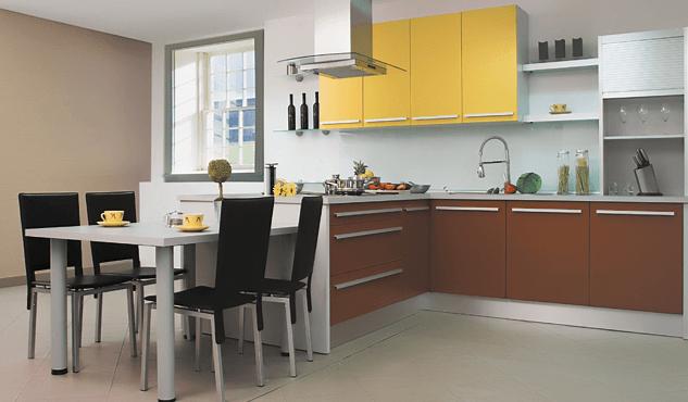 moderna kuhinja v obliki črke L