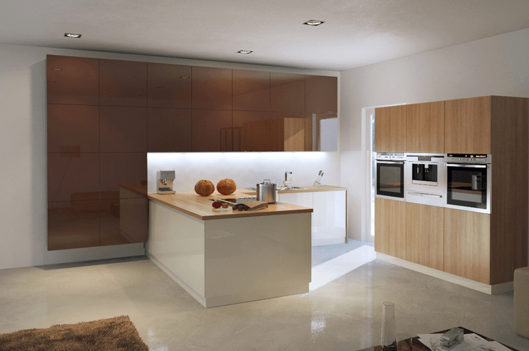 moderna kuhinja z vgradnim polotokom