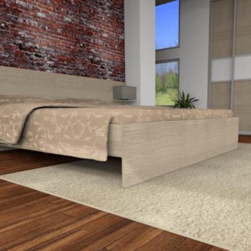 Spalnica z vgradno omaro – 3d predlog opremljenosti moderne spalnice z dvodelno vgradno omaro