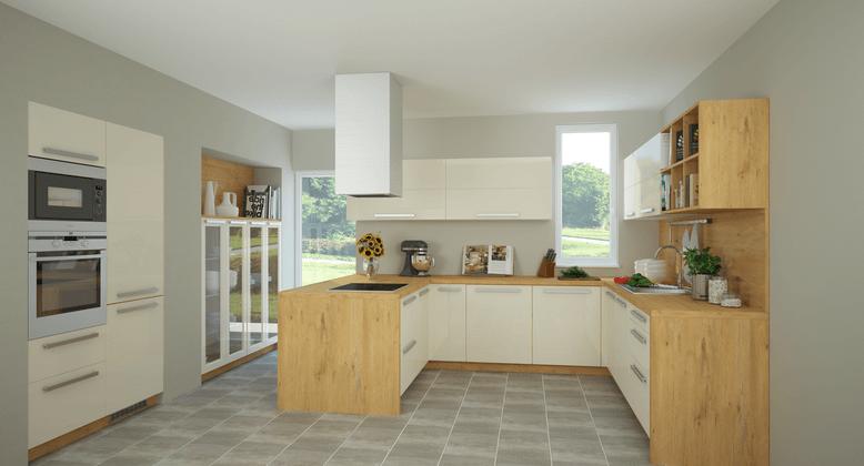 kuhinja z vgradnimi elementi