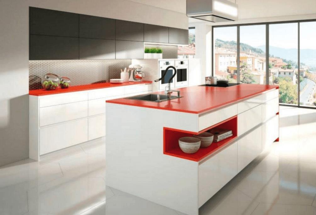 rdečo bela moderna kuhinja