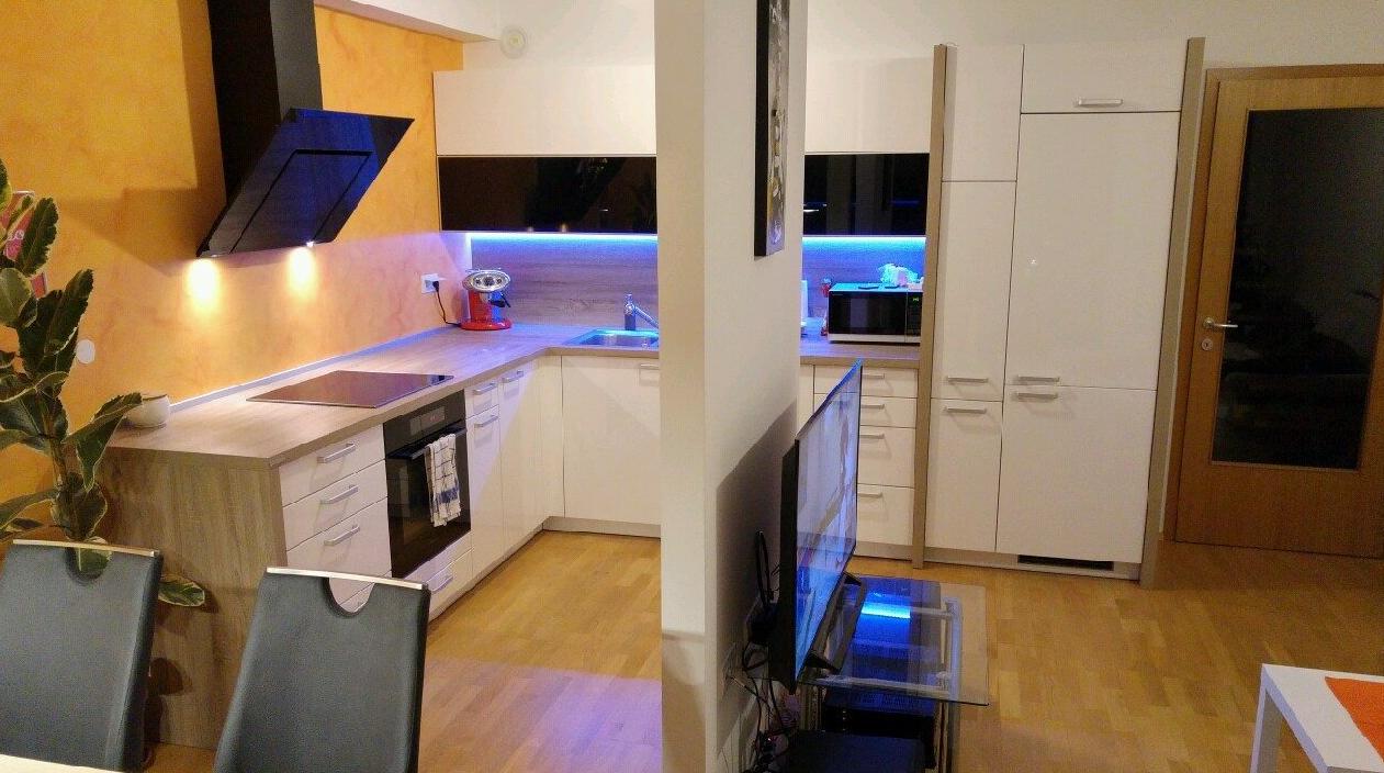 kuhinja jedilnica in dnevna soba v eni sobi
