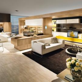 Moderna, prestižna kuhinja in dnevna soba v enem prostoru