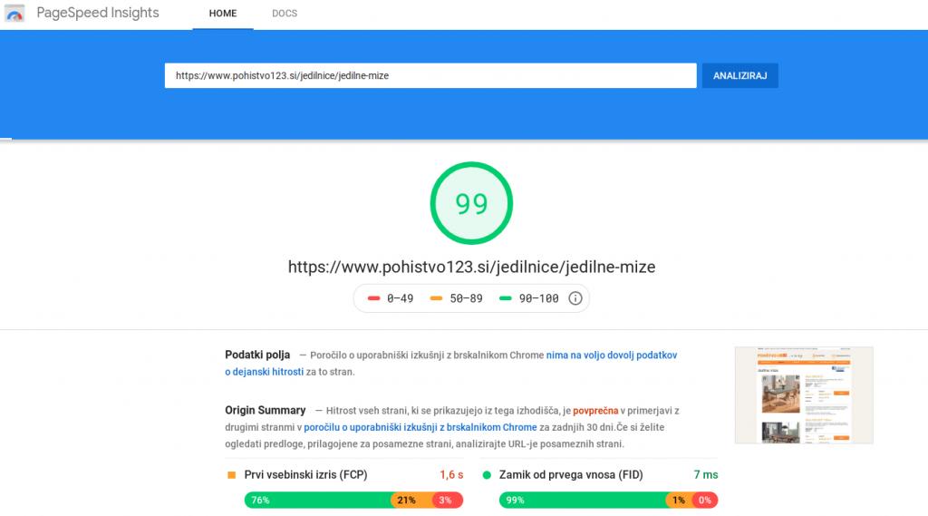 google seo izboljšava hitrost nalaganja speltne strani