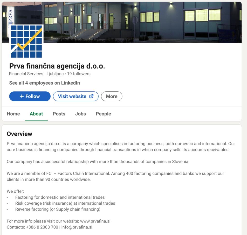 linkedin podjetniski profil prvafina.si faktoring